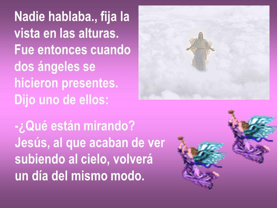 Nadie hablaba., fija la vista en las alturas. Fue entonces cuando dos ángeles se hicieron presentes. Dijo uno de ellos: -¿Qué están mirando? Jesús, al