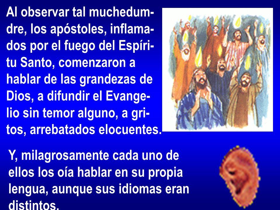 Al observar tal muchedum- dre, los apóstoles, inflama- dos por el fuego del Espíri- tu Santo, comenzaron a hablar de las grandezas de Dios, a difundir