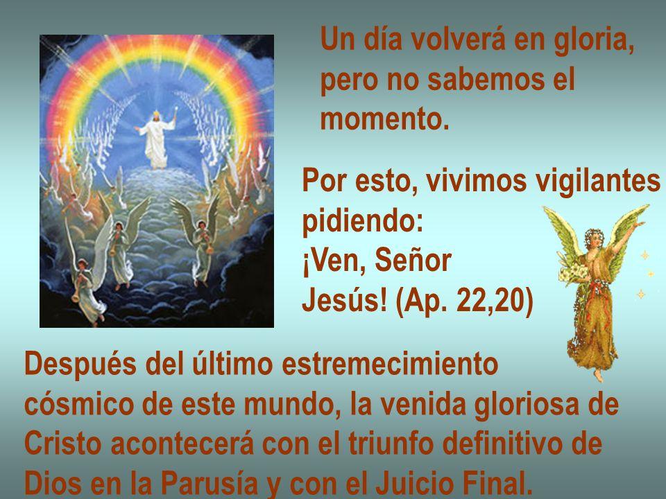 Un día volverá en gloria, pero no sabemos el momento. Por esto, vivimos vigilantes pidiendo: ¡Ven, Señor Jesús! (Ap. 22,20) Después del último estreme