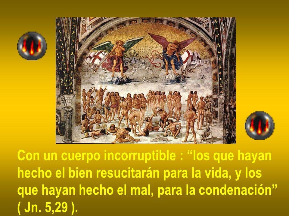 Con un cuerpo incorruptible : los que hayan hecho el bien resucitarán para la vida, y los que hayan hecho el mal, para la condenación ( Jn. 5,29 ).