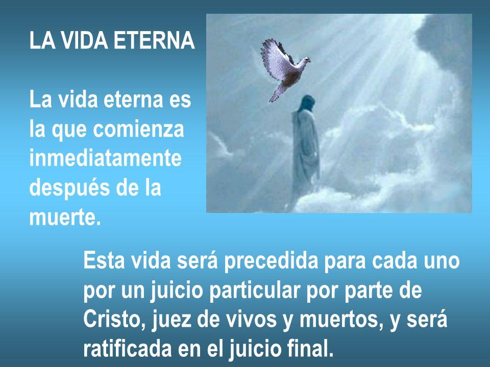 LA VIDA ETERNA La vida eterna es la que comienza inmediatamente después de la muerte. Esta vida será precedida para cada uno por un juicio particular