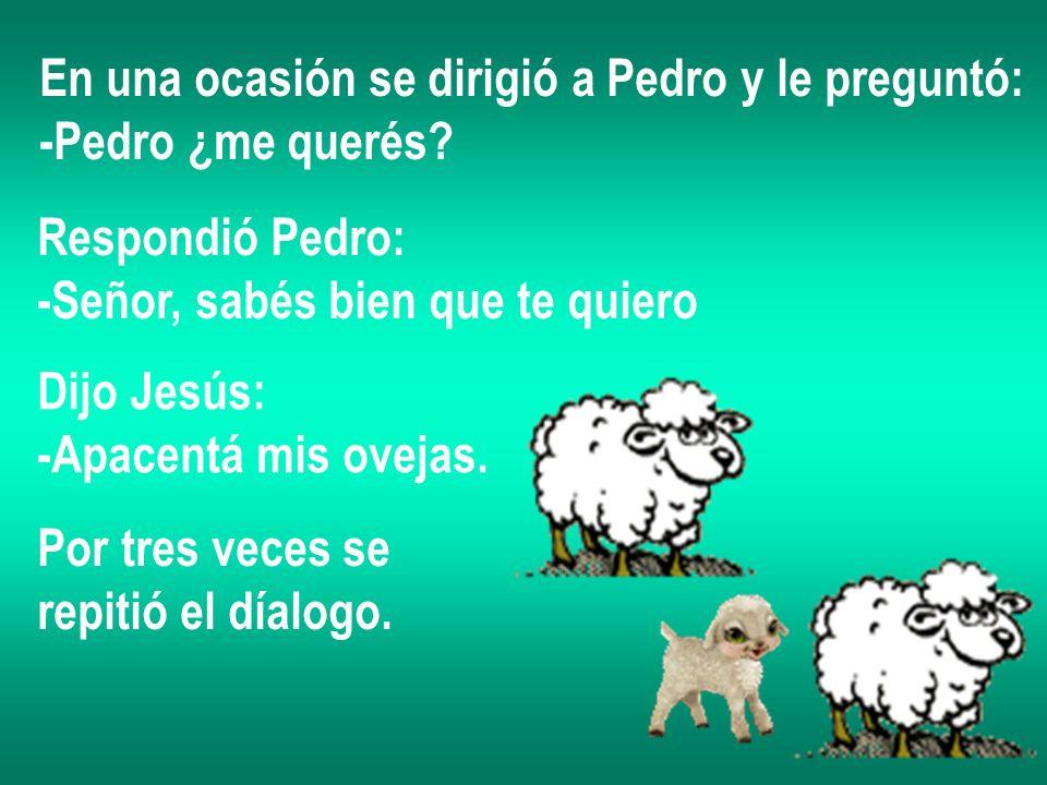En una ocasión se dirigió a Pedro y le preguntó: -Pedro ¿me querés? Respondió Pedro: -Señor, sabés bien que te quiero Dijo Jesús: -Apacentá mis ovejas