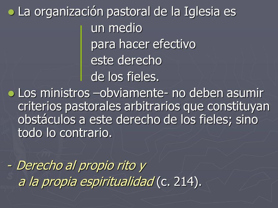 La organización pastoral de la Iglesia es La organización pastoral de la Iglesia es un medio para hacer efectivo este derecho de los fieles. Los minis