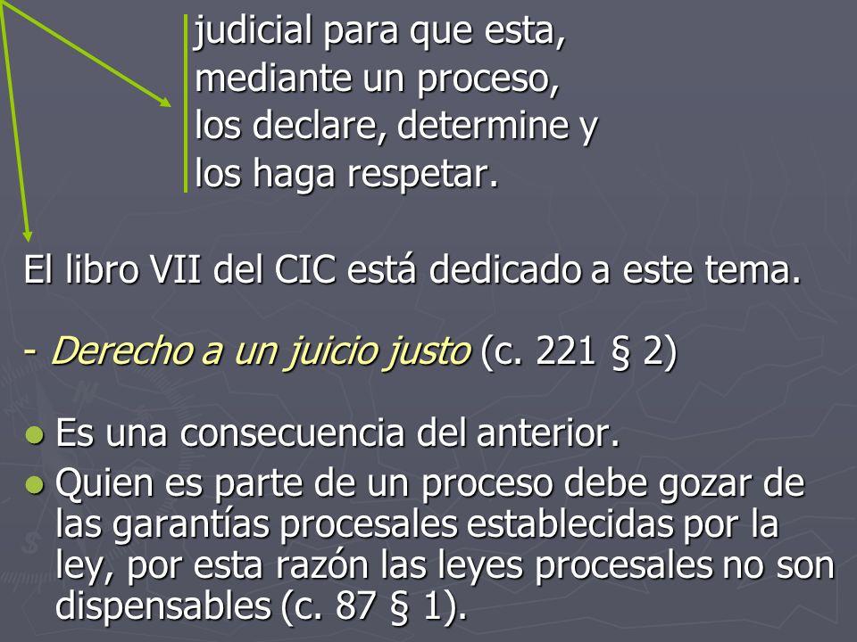 judicial para que esta, mediante un proceso, los declare, determine y los haga respetar. El libro VII del CIC está dedicado a este tema. Derecho a un