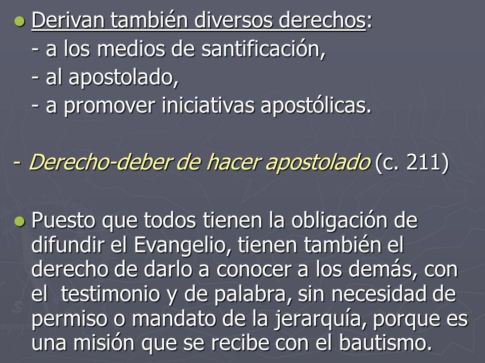 Derivan también diversos derechos: Derivan también diversos derechos: - a los medios de santificación, - al apostolado, - a promover iniciativas apost
