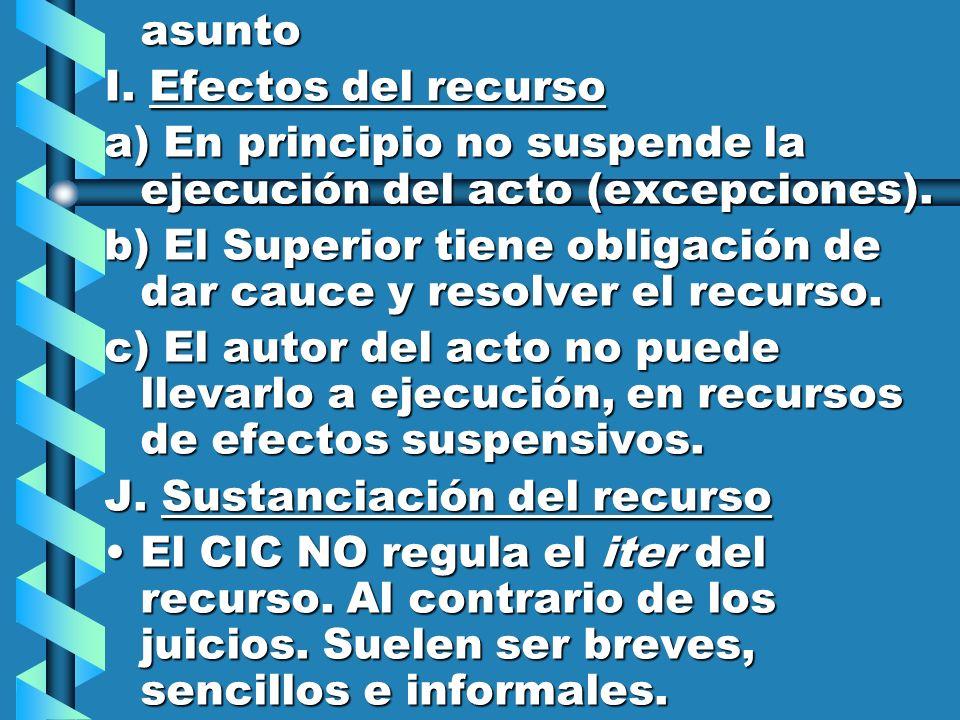 asunto I. Efectos del recurso a) En principio no suspende la ejecución del acto (excepciones). b) El Superior tiene obligación de dar cauce y resolver