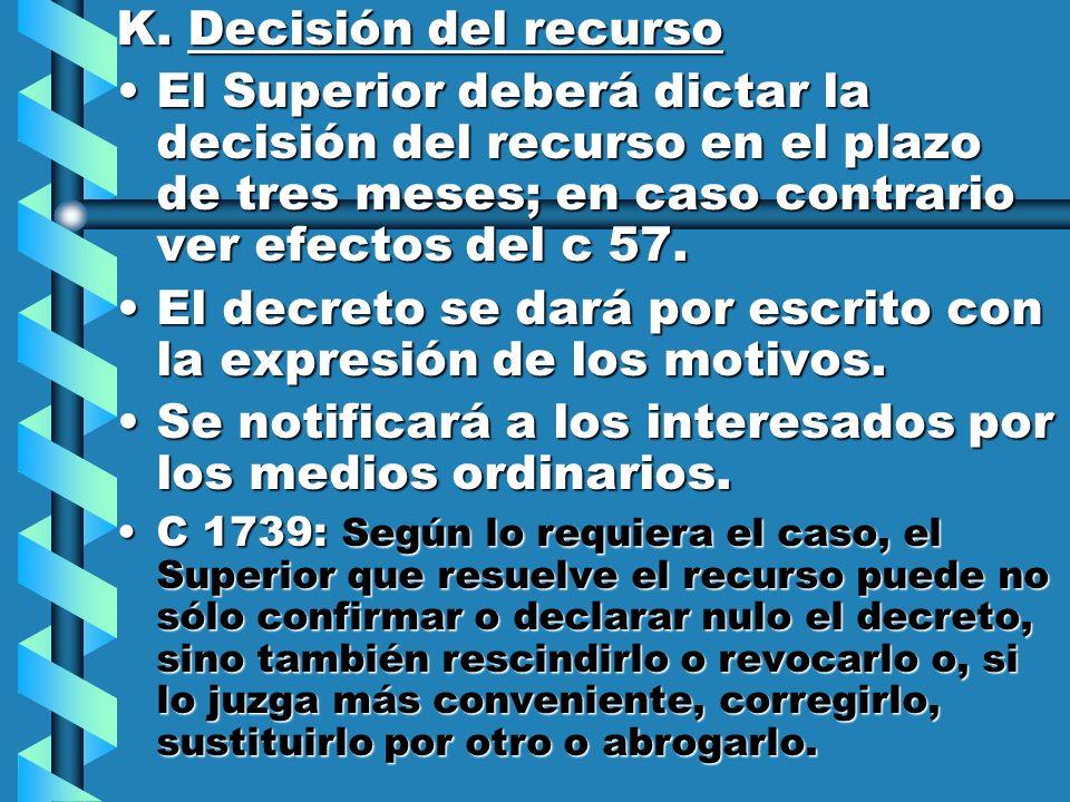 K. Decisión del recurso El Superior deberá dictar la decisión del recurso en el plazo de tres meses; en caso contrario ver efectos del c 57.El Superio
