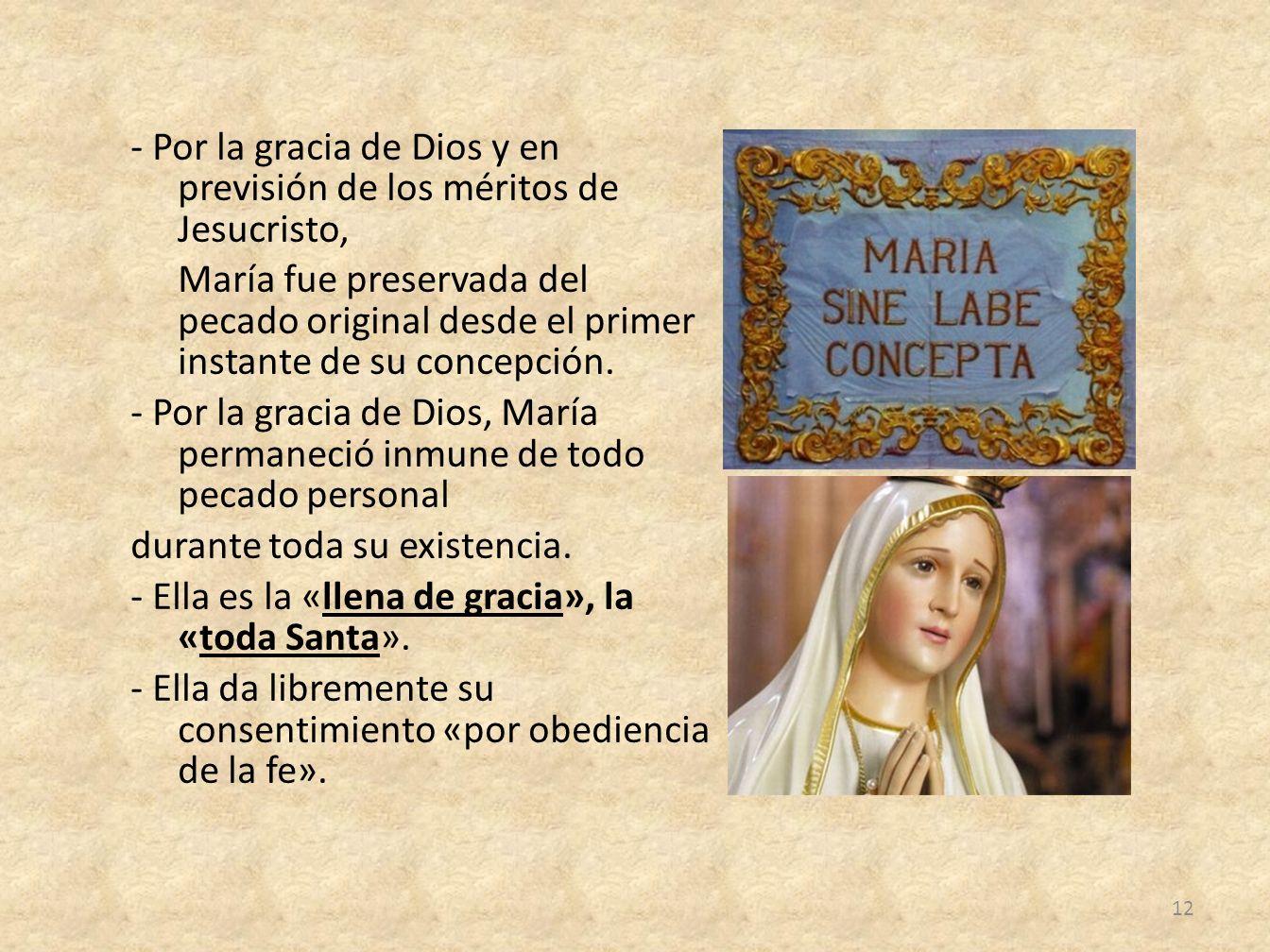 - Por la gracia de Dios y en previsión de los méritos de Jesucristo, María fue preservada del pecado original desde el primer instante de su concepció