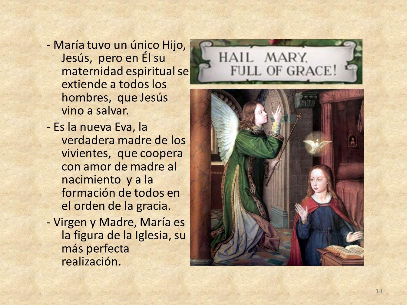 - María tuvo un único Hijo, Jesús, pero en Él su maternidad espiritual se extiende a todos los hombres, que Jesús vino a salvar. - Es la nueva Eva, la
