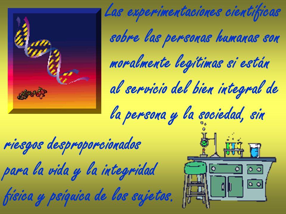 Las experimentaciones científicas sobre las personas humanas son moralmente legítimas si están al servicio del bien integral de la persona y la socied