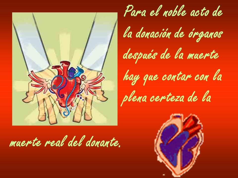 Para el noble acto de la donación de órganos después de la muerte hay que contar con la plena certeza de la muerte real del donante.