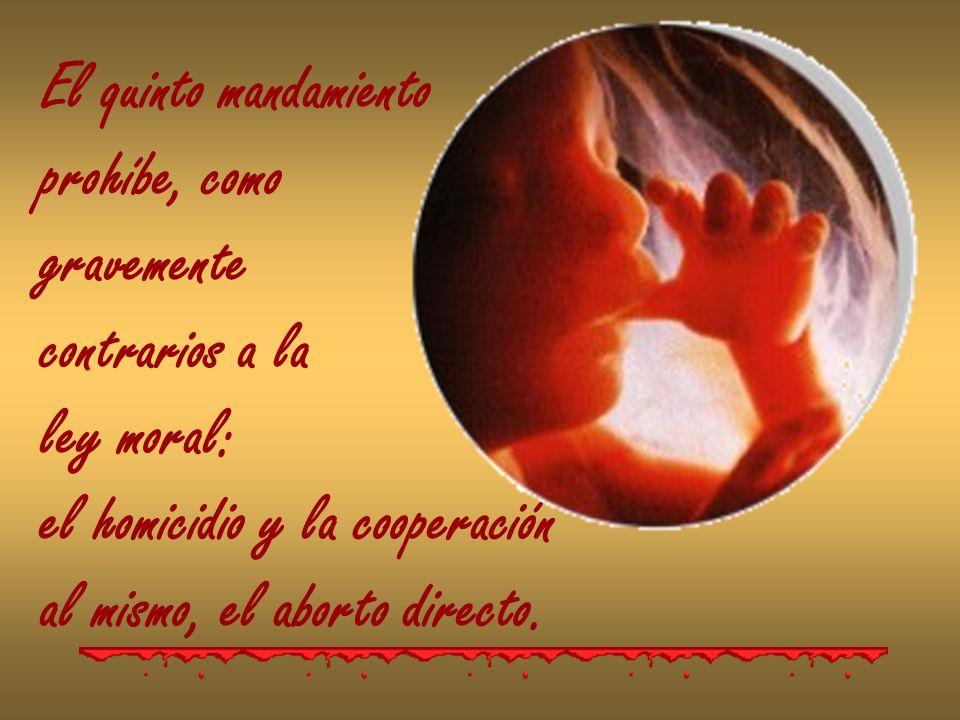 El quinto mandamiento prohíbe, como gravemente contrarios a la ley moral: el homicidio y la cooperación al mismo, el aborto directo.