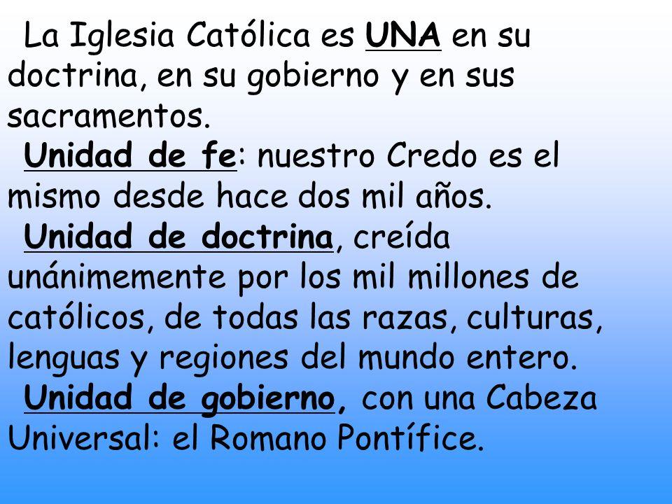 La Iglesia Católica es SANTA en su doctrina, en su moral, en sus medios de santificación -los sacramentos- y en sus frutos.