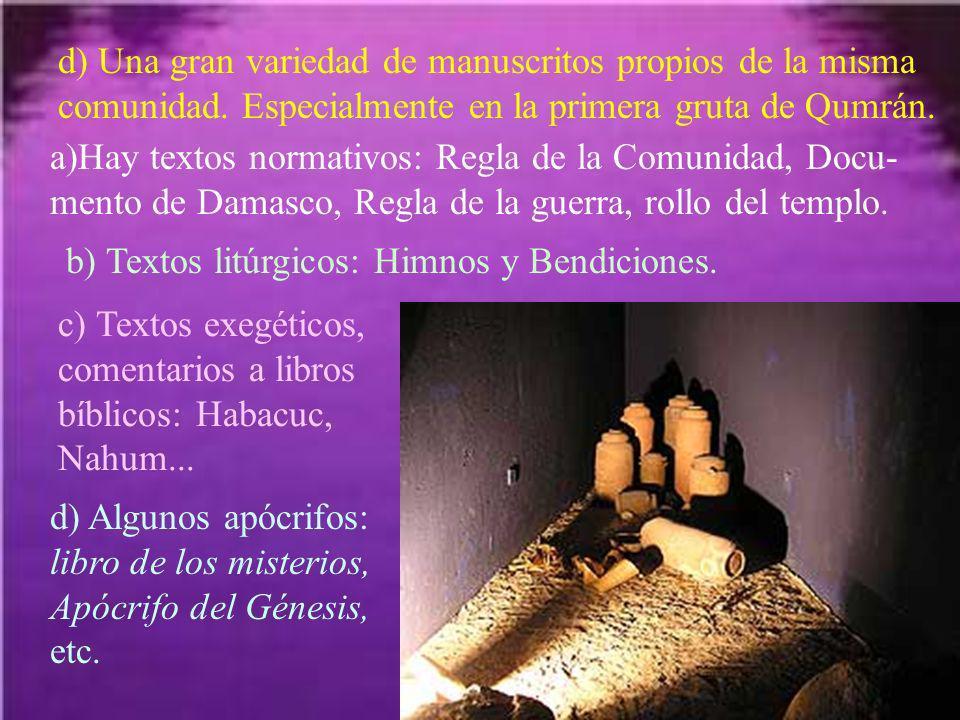 d) Una gran variedad de manuscritos propios de la misma comunidad. Especialmente en la primera gruta de Qumrán. a)Hay textos normativos: Regla de la C