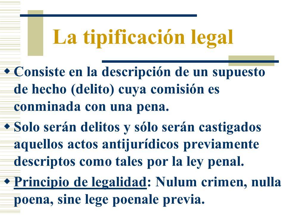 La tipificación legal Consiste en la descripción de un supuesto de hecho (delito) cuya comisión es conminada con una pena. Solo serán delitos y sólo s