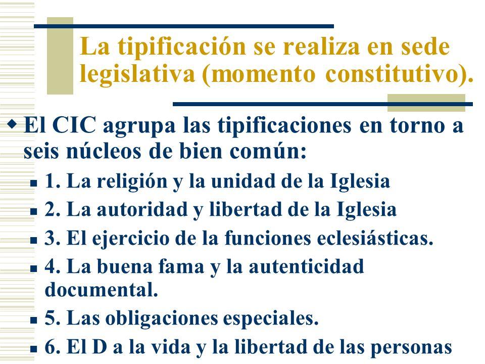 La tipificación se realiza en sede legislativa (momento constitutivo). El CIC agrupa las tipificaciones en torno a seis núcleos de bien común: 1. La r