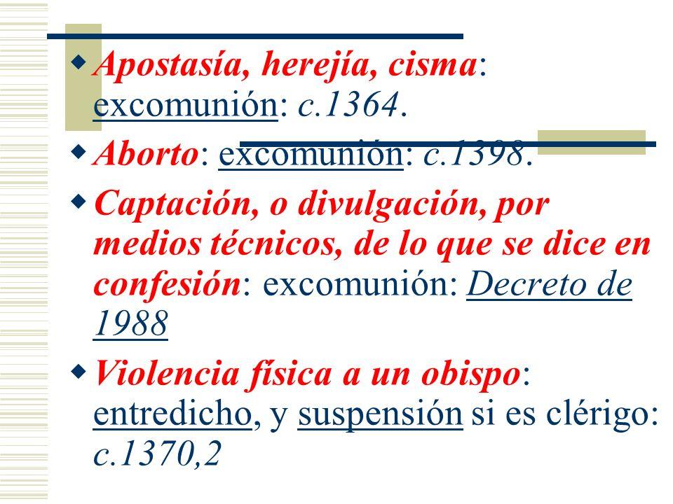 Apostasía, herejía, cisma: excomunión: c.1364. Aborto: excomunión: c.1398. Captación, o divulgación, por medios técnicos, de lo que se dice en confesi