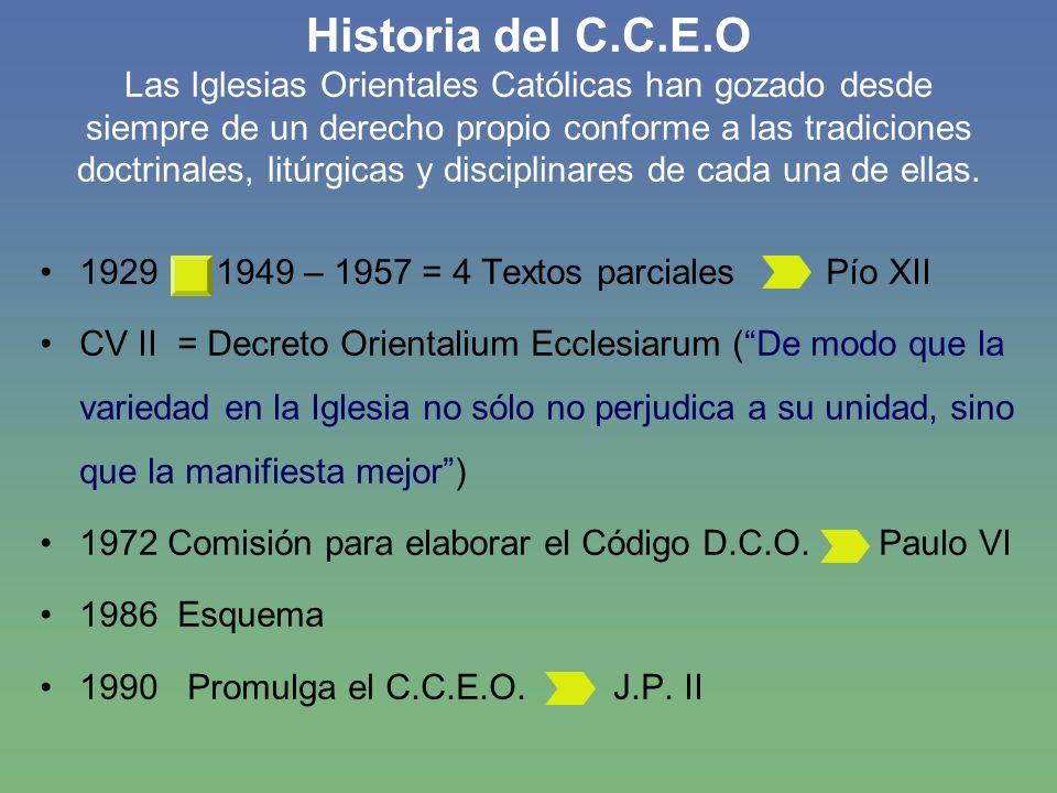 Contenido del C.C.E.O Normas de derecho (cánones) comunes a las 21 Iglesias autónomas.