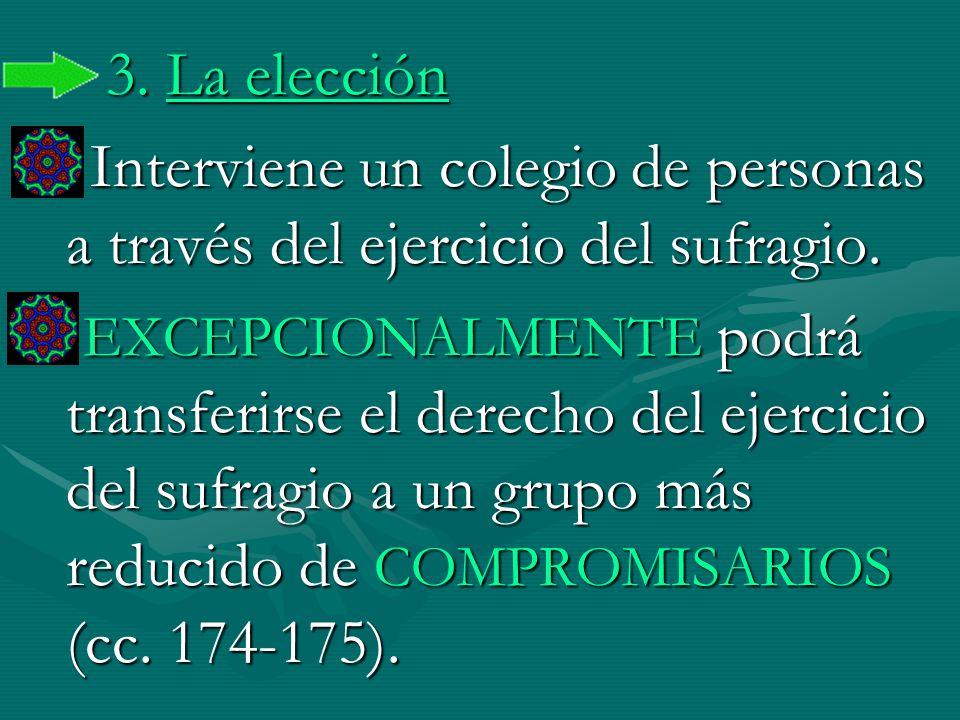 3. La elección Interviene un colegio de personas a través del ejercicio del sufragio. EXCEPCIONALMENTE podrá transferirse el derecho del ejercicio del