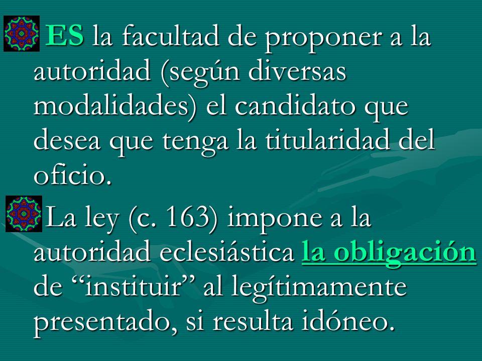 ES la facultad de proponer a la autoridad (según diversas modalidades) el candidato que desea que tenga la titularidad del oficio. La ley (c. 163) imp