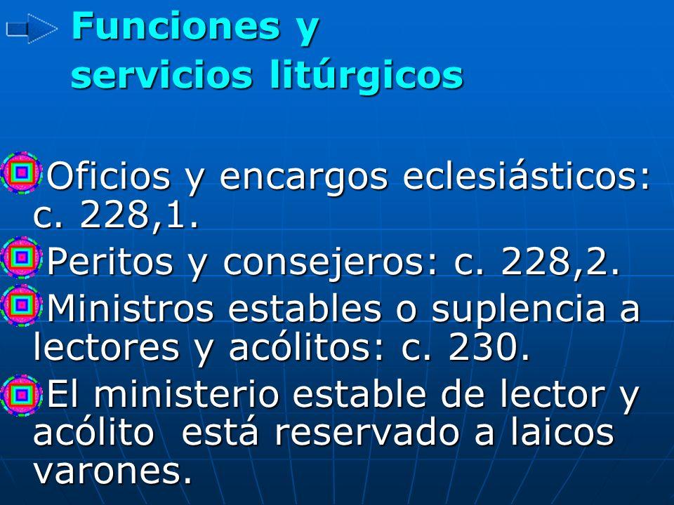 Funciones y servicios litúrgicos Funciones y servicios litúrgicos Oficios y encargos eclesiásticos: c. 228,1. Oficios y encargos eclesiásticos: c. 228