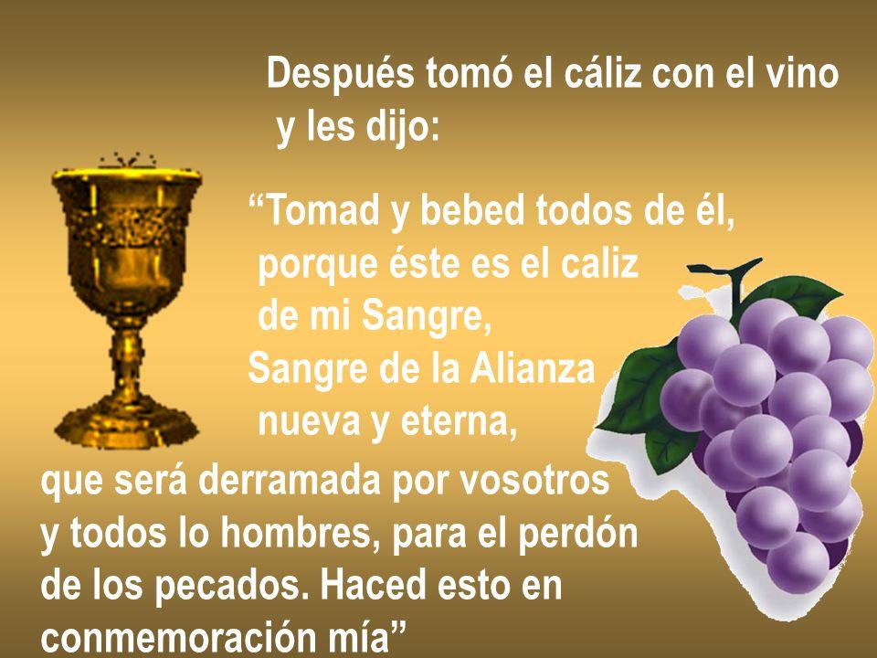 Después tomó el cáliz con el vino y les dijo: Tomad y bebed todos de él, porque éste es el caliz de mi Sangre, Sangre de la Alianza nueva y eterna, qu