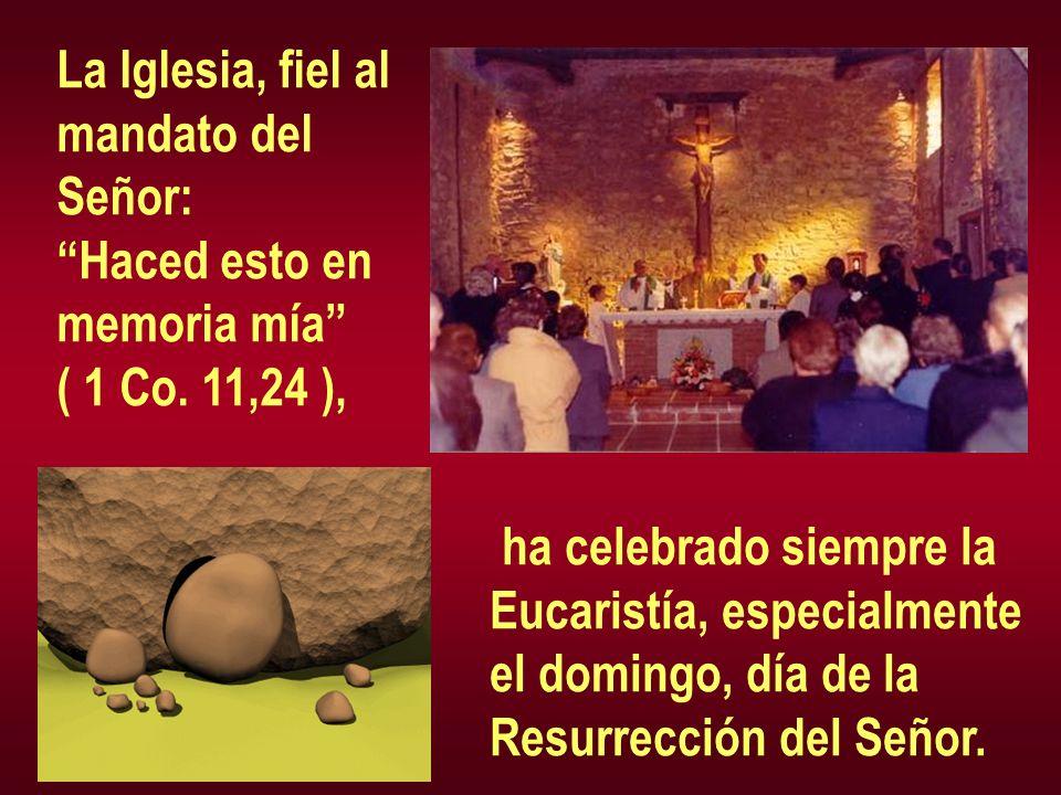 La Iglesia, fiel al mandato del Señor: Haced esto en memoria mía ( 1 Co. 11,24 ), ha celebrado siempre la Eucaristía, especialmente el domingo, día de