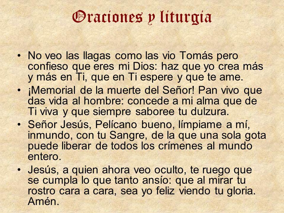 Oraciones y liturgia No veo las llagas como las vio Tomás pero confieso que eres mi Dios: haz que yo crea más y más en Ti, que en Ti espere y que te a