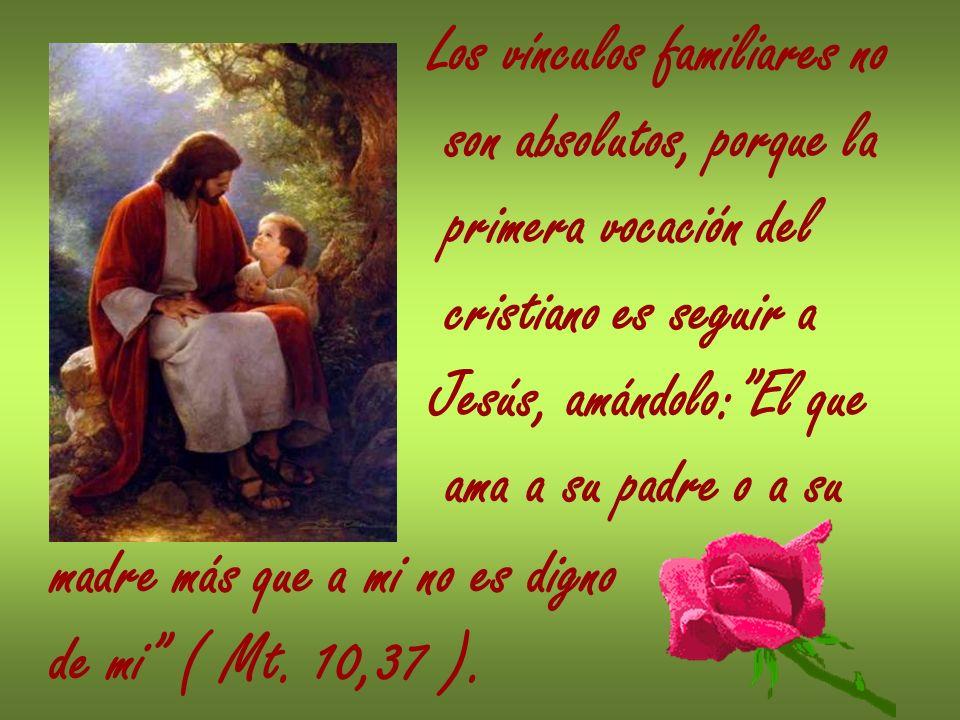 Los vínculos familiares no son absolutos, porque la primera vocación del cristiano es seguir a Jesús, amándolo:El que ama a su padre o a su madre más