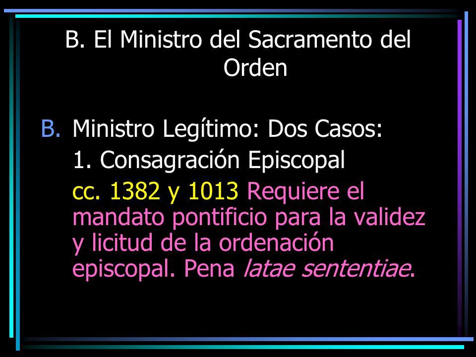B. El Ministro del Sacramento del Orden B.Ministro Legítimo: Dos Casos: 1. Consagración Episcopal cc. 1382 y 1013 Requiere el mandato pontificio para