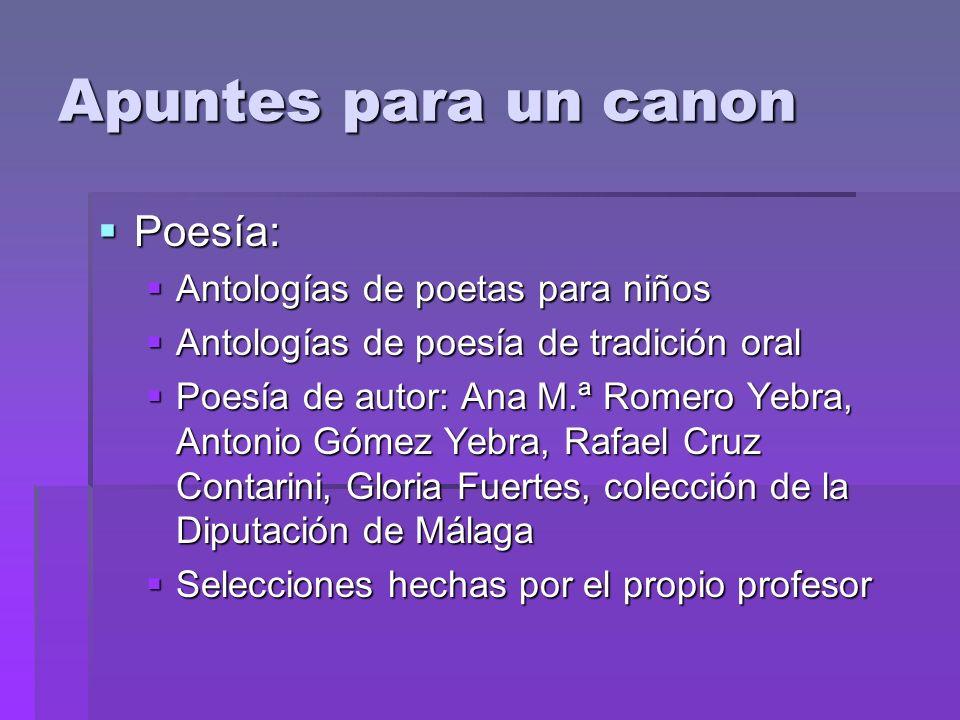 Apuntes para un canon Poesía: Poesía: Antologías de poetas para niños Antologías de poetas para niños Antologías de poesía de tradición oral Antología