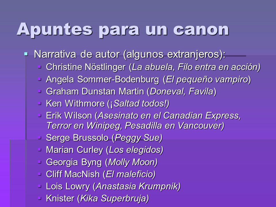 Apuntes para un canon Narrativa de autor (algunos extranjeros): Narrativa de autor (algunos extranjeros): Christine Nöstlinger (La abuela, Filo entra