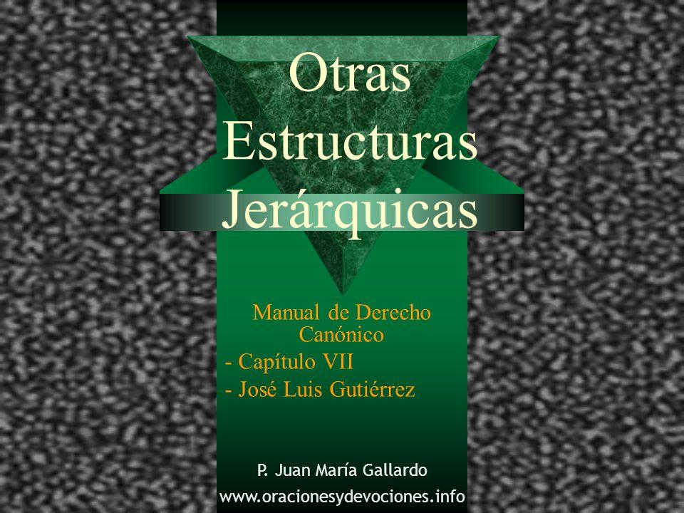 Otras Estructuras Jerárquicas Manual de Derecho Canónico - Capítulo VII - José Luis Gutiérrez P. Juan María Gallardo www.oracionesydevociones.info