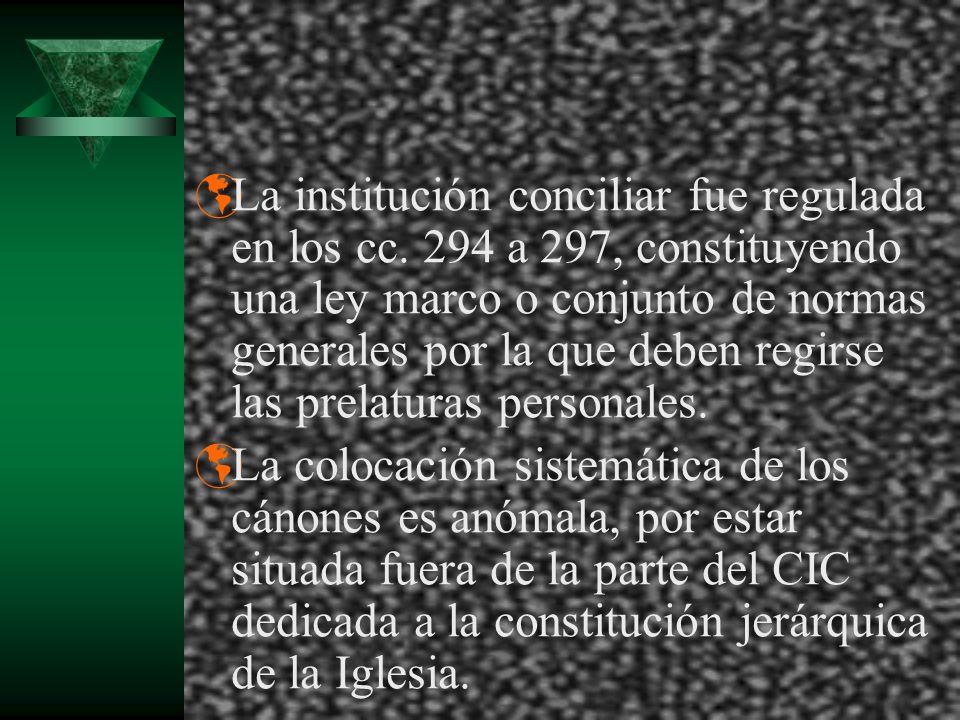 La institución conciliar fue regulada en los cc. 294 a 297, constituyendo una ley marco o conjunto de normas generales por la que deben regirse las pr