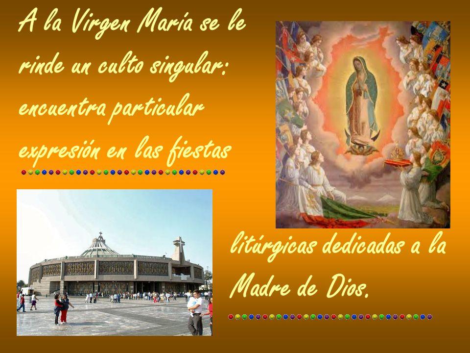 A la Virgen María se le rinde un culto singular: encuentra particular expresión en las fiestas litúrgicas dedicadas a la Madre de Dios.