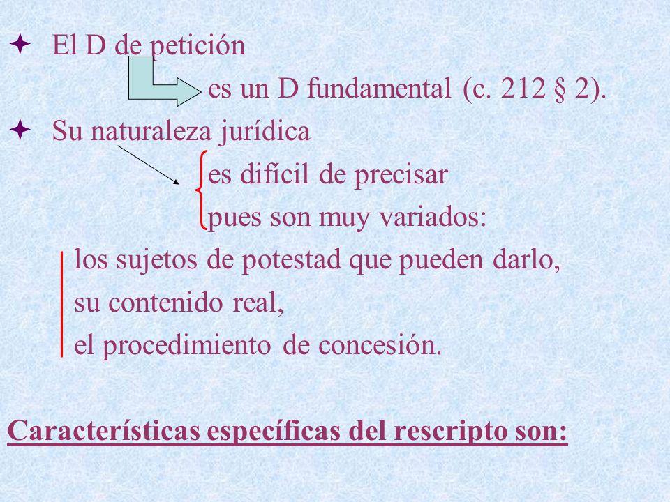 El D de petición es un D fundamental (c. 212 § 2). Su naturaleza jurídica es difícil de precisar pues son muy variados: los sujetos de potestad que pu