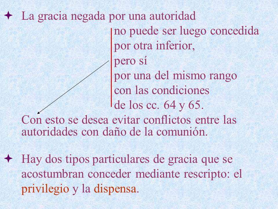 La gracia negada por una autoridad no puede ser luego concedida por otra inferior, pero sí por una del mismo rango con las condiciones de los cc. 64 y