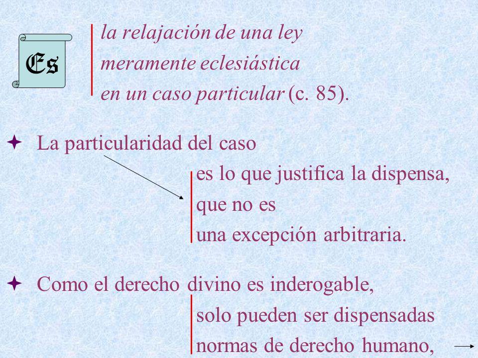 la relajación de una ley meramente eclesiástica en un caso particular (c. 85). La particularidad del caso es lo que justifica la dispensa, que no es u