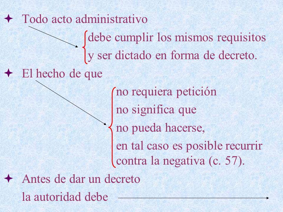Todo acto administrativo debe cumplir los mismos requisitos y ser dictado en forma de decreto. El hecho de que no requiera petición no significa que n
