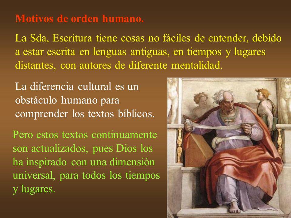 Motivos de orden humano. La Sda, Escritura tiene cosas no fáciles de entender, debido a estar escrita en lenguas antiguas, en tiempos y lugares distan