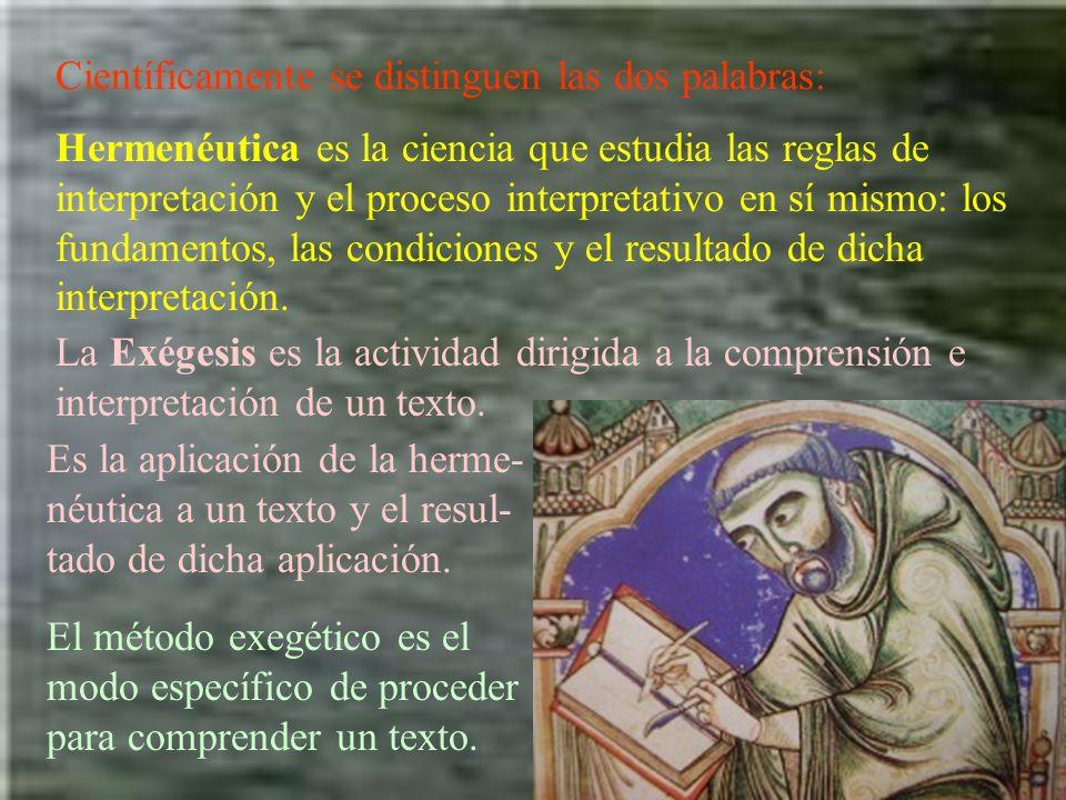 Científicamente se distinguen las dos palabras: Hermenéutica es la ciencia que estudia las reglas de interpretación y el proceso interpretativo en sí