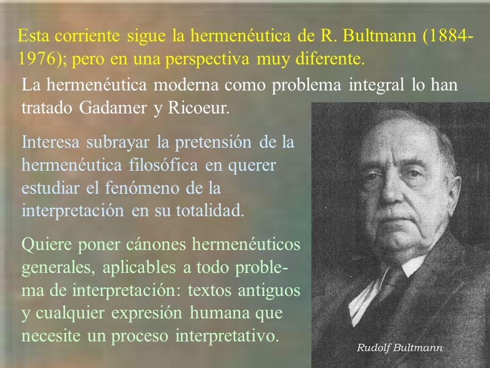 Esta corriente sigue la hermenéutica de R. Bultmann (1884- 1976); pero en una perspectiva muy diferente. La hermenéutica moderna como problema integra