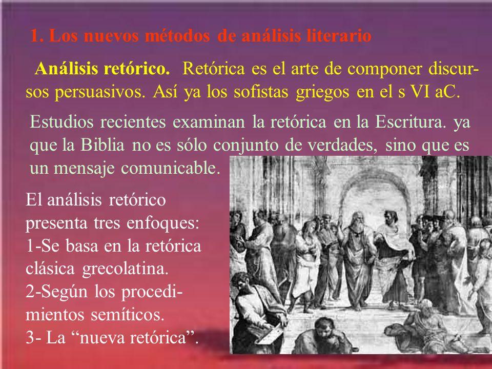 1. Los nuevos métodos de análisis literario Análisis retórico. Retórica es el arte de componer discur- sos persuasivos. Así ya los sofistas griegos en
