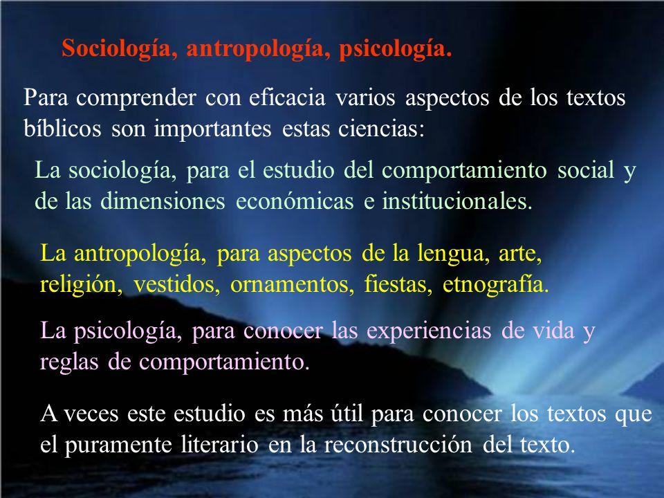 Sociología, antropología, psicología. Para comprender con eficacia varios aspectos de los textos bíblicos son importantes estas ciencias: La sociologí