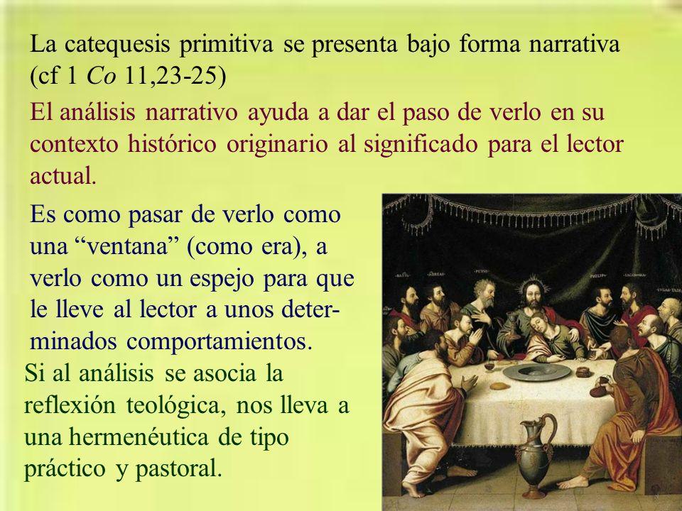 La catequesis primitiva se presenta bajo forma narrativa (cf 1 Co 11,23-25) El análisis narrativo ayuda a dar el paso de verlo en su contexto históric