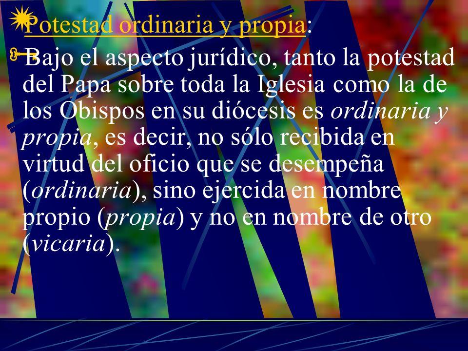 Potestad ordinaria y propia: Bajo el aspecto jurídico, tanto la potestad del Papa sobre toda la Iglesia como la de los Obispos en su diócesis es ordin