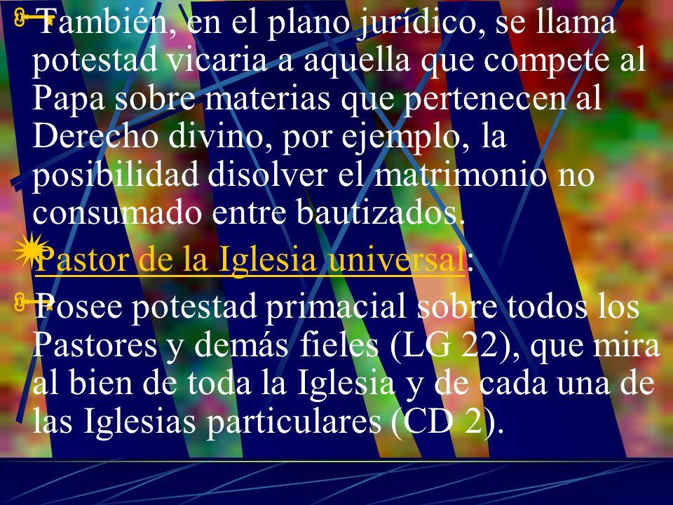 También, en el plano jurídico, se llama potestad vicaria a aquella que compete al Papa sobre materias que pertenecen al Derecho divino, por ejemplo, l