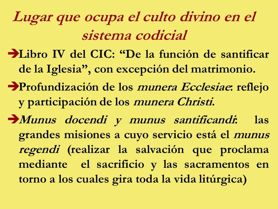 Lugar que ocupa el culto divino en el sistema codicial èLibro IV del CIC: De la función de santificar de la Iglesia, con excepción del matrimonio.