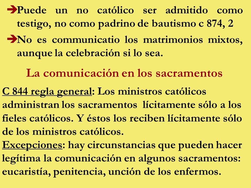 èPuede un no católico ser admitido como testigo, no como padrino de bautismo c 874, 2 èNo es communicatio los matrimonios mixtos, aunque la celebración si lo sea.