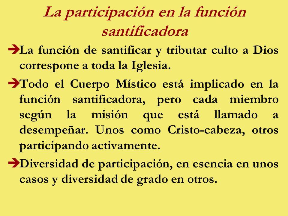 La participación en la función santificadora èLa función de santificar y tributar culto a Dios correspone a toda la Iglesia.